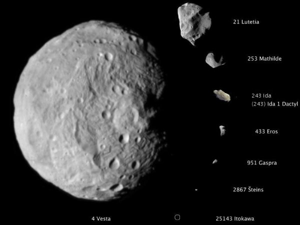 Asteroids to scale