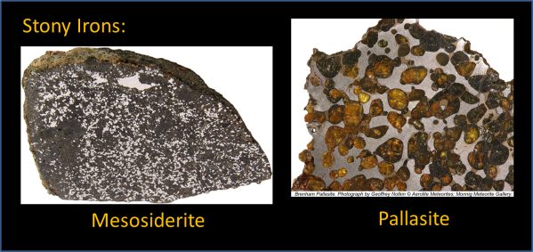 Stony Irons: mesosiderite (left) and pallasite (right)
