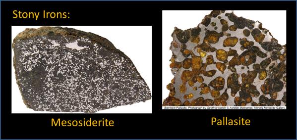 Stony Irons: mesosiderite (left) and pallasite (right)