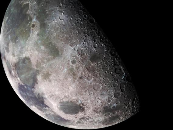 The Moon has smooth and cratered surfaces. The cratered surfaces are older than the smooth surfaces.