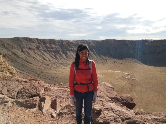 A windy day at Meteor Crater. This is a well-preserved impact crater in Arizona. Based on various dating methods, this impact occurred around 50 million years ago.